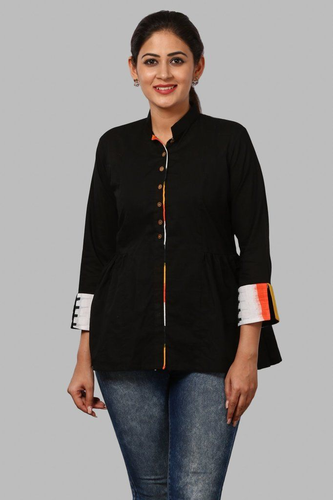 bc83c72b953 Black Ikkat Front Open Top in 2019 | What am I thinking about today ! | Cotton  tops for jeans, Short tops for jeans, Kurti with jeans