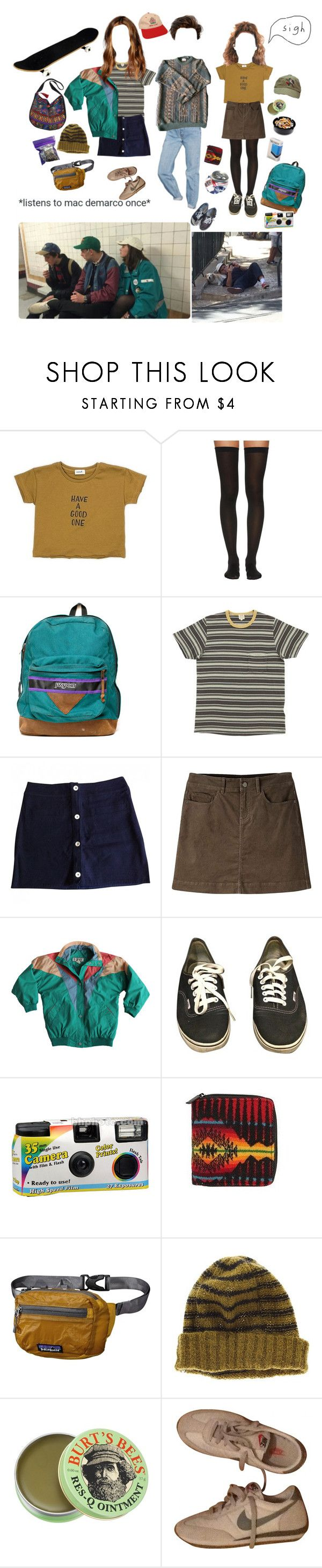 """""""listens to mac demarco once"""" by sam-penzance ❤ liked on Polyvore featuring Urban Outfitters, Wolford, JanSport, Claudie Pierlot, Mountain Khakis, Vans, American Apparel, INC International Concepts, Patagonia and Madewell"""
