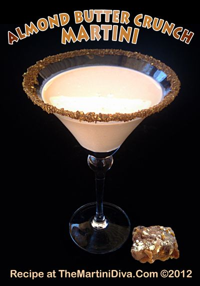 ALMOND BUTTER CRUNCH MARTINI - An Amaretto, Buttershots & Chocolate Vodka Cocktail that will make your mouth happy! Click the image for the Recipe and the Free Recipe Card!