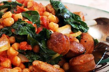 Chickpea, chorizo and silverbeet stew