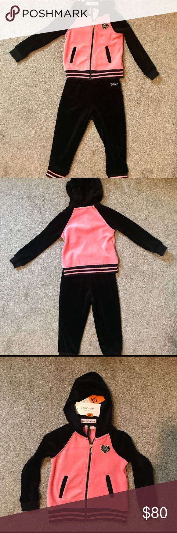 ♦️ 10% ⬇️ NEW Juicy Couture 2 Piece: Pink & Black NEW w/ TAGS: Signature Juicy Couture 2 piece set with hoodie and pants. Must have for JC collection! Soft velour, pink & black in color. Cozy yet chic look from head to toe! Juicy Couture logo on both jacket and pants. Jacket has dual front pockets, hemmed cuffs & stunning complimentary pink stripes. Pants have elastic waistband with soft & sturdy drawstring, hemmed cuffs & complimentary stripes.  May be able to get various toddler sizes…