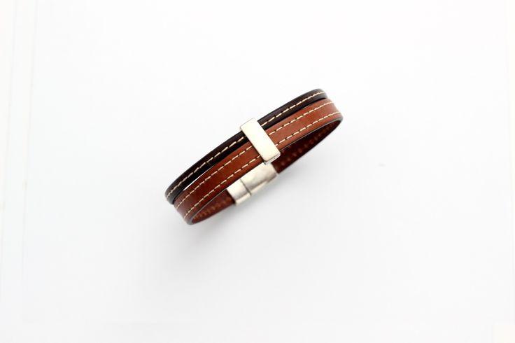 Bracelet Homme Cuirs cousus Marron et Marron foncé passant étain (Taille personnalisable à la commande) : Bijoux pour hommes par creea2-atelier