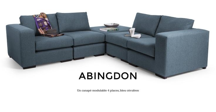 Abingdon, un canapé dangle modulable en bleu céruléen | made.com 1629€+129€ livraison