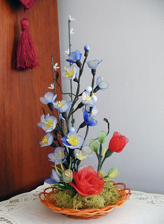Handmade Nylon Flowers Arrangement by LiYunFlora on Etsy