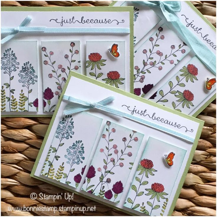 three-panel colored stamped flowers