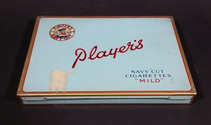 """Vintage 1950s Player's 50 Navy Cut Cigarettes """"MILD"""" Tin Case w/ partial Excise Tax Stamp https://treasurevalleyantiques.com/products/vintage-1950s-players-50-navy-cut-cigarettes-mild-tin-w-partial-sticker #Vintage #1950s #50s #Fifties #MidCentury #Players #JohnPlayerAndSons #England #Imperial #Montreal #Quebec #Canada #Canadian #NavyCut #Mild #Cigarettes #Tin #Case"""