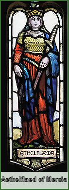 Stained glass of Aethelflaed, Lady of the Mercians, eldest daughter of Alfred the Great.