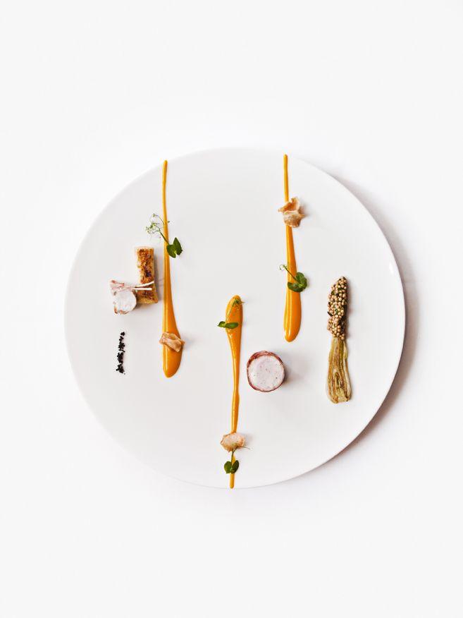 Terrior: pancetta wrapped rabbit with jus, butternut squash purée, garlic soil, black olive salt, Dijon mustard seeds and charred leeks.