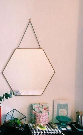 Gold & Glass Hexagon Mirror, available in store. image by lottieren10