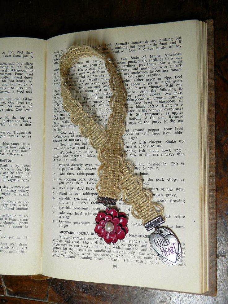 Wild Heart Ribbon Bookmark,  Burgundy Flower Charm Ribbon Bookmark, Ribbon Bookmark with Charms, Handmade Ribbon Bookmark by TheCraftingEmporium on Etsy