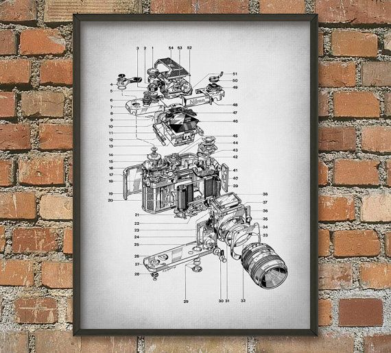 Nikon Camera Schematic Diagram Wall Art Poster by