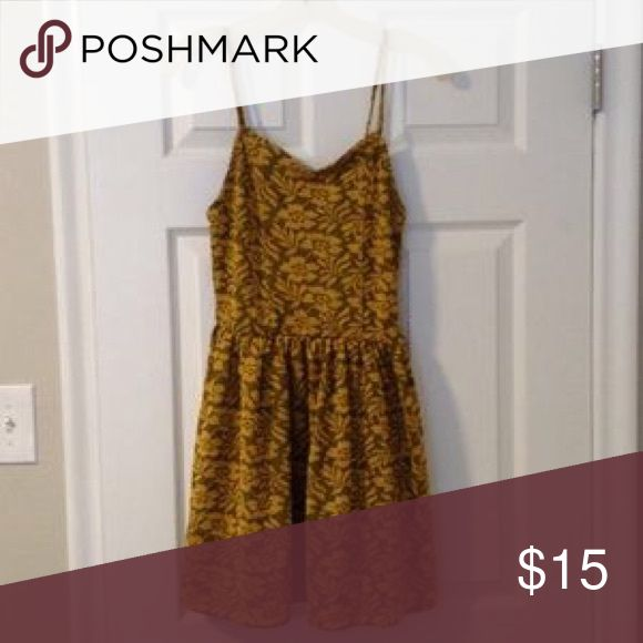Cotton On Mustard Floral Skater Dress Extra Small. Cotton On Dresses Mini