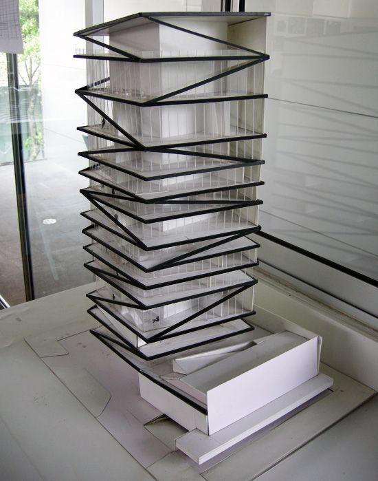 study model for QI building miami,  rojkind arquitectos and derek dellekamp