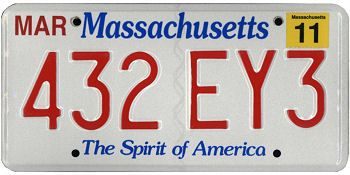 This is the official license plate for the state of Massachusetts as it has been officially adopted by the state legislature. Also known as a vehicle registration plate, it is used to identify the car and owner of a motor vehicle or trailer in the state.