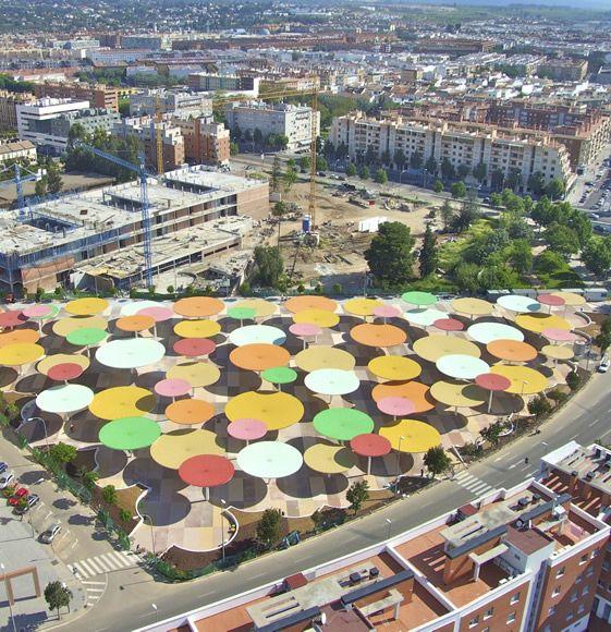 Giant Rainbow Hued Umbrellas Pop Up in Spain!