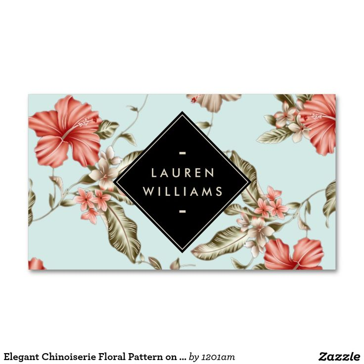 Elegant Chinoiserie Floral Pattern on Vintage Blue Customizable Business Card for Interior Designers, Decorators, Stylists and more.