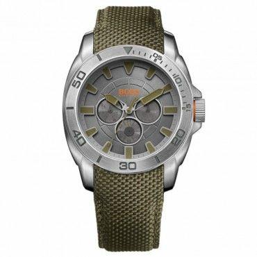 1513015 HUGO BOSS ORANGE Ανδρικό fashion quartz ρολόι HUGO BOSS ORANGE με γκρι καντράν & λαδί υφασμάτινο λουρί | BOSS ρολόγια ΤΣΑΛΔΑΡΗΣ στο Χαλάνδρι #Boss #orange #λουρι #ανδρικο #ρολοι
