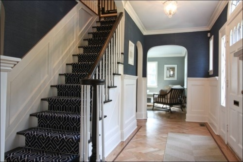 Foyer Navy Blue Grasscloth Wallpaper From Thibaut W Navy