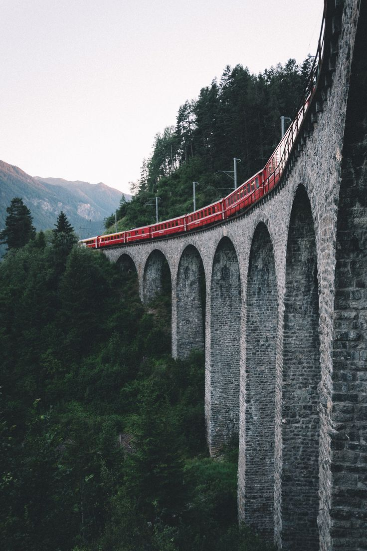 The incredible beauty of the Rhaetische Bahn passing through one of Switzerland's most beautiful canton. #Filisur, #Switzerland