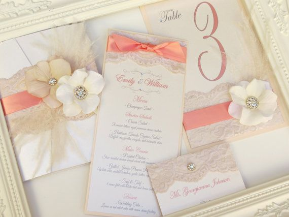 VINTAGE GLAMOUR: Coral and Blush Elegant Lace door peachykeenevents