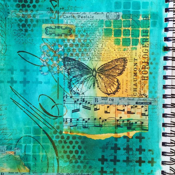 It's a wrap! Art journal with stencils, stamps, paint, ink, washi tape, and…