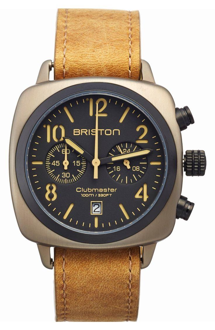 Briston Watches Chronograph Leather Strap Watch, 40mm