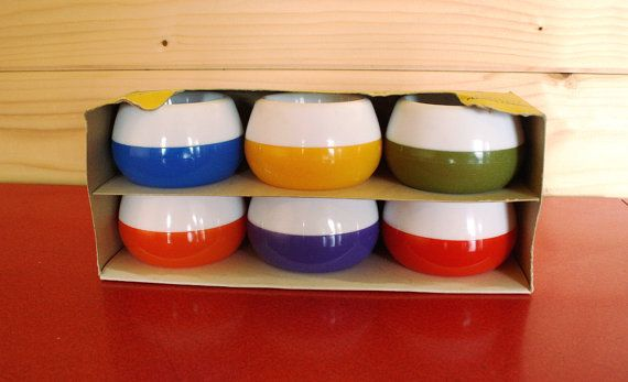 Vintage 50's 60's egg cups RETRO, colour block midcentury non tip egg cups