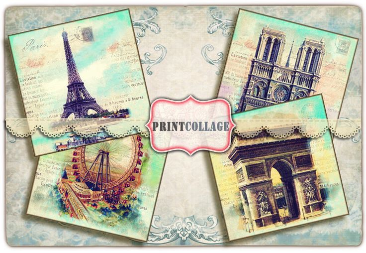 Coaster images Digital Square Background Coasters Set of 4 Printable Cards Large Images for Printable tags 4x4 inch Greeting Card Paris O10 - pinned by pin4etsy.com