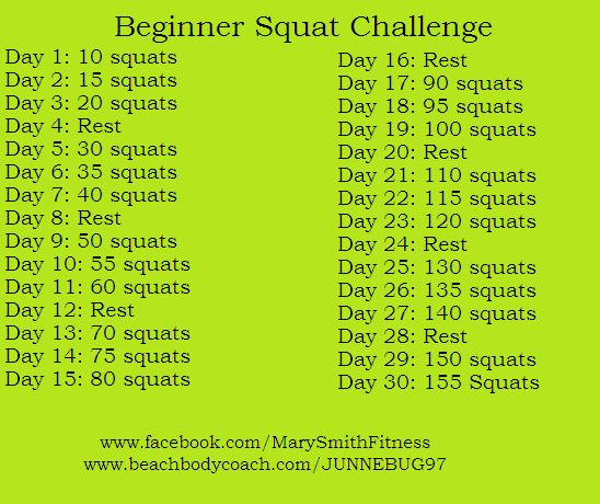 Might be able to start squats again with this beginner squat challenge.
