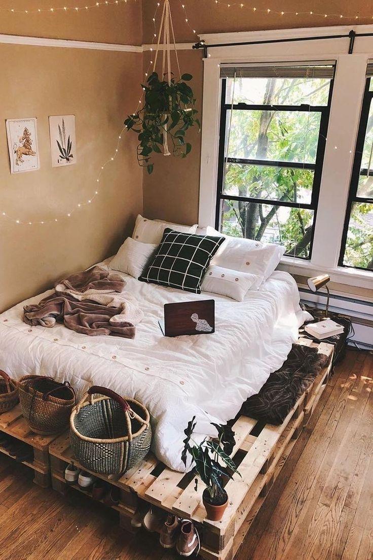Pallet Platform Bed Furniture Contemplation Property Bed Frame In 2020 Modern Bedroom Interior Urban Outfiters Bedroom Interior Design Bedroom