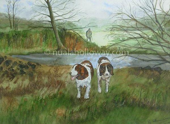 """""""Early Morning Shot"""" by Nuala Holloway ~ Watercolour  #Art #Dogs #NualaHolloway #IrishArt"""