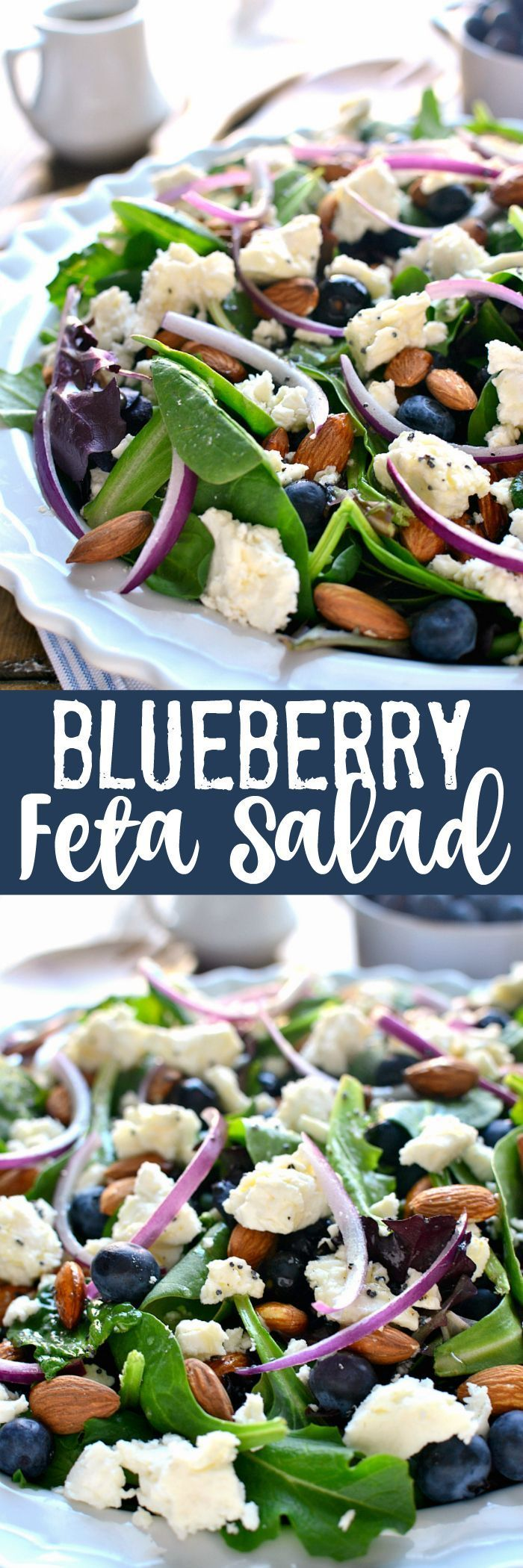This Blueberry Feta Salad is your new go-to salad for spring! It combines fresh blueberries with feta cheese, almonds, and a lemon poppyseed vinaigrette. Perfect for a baby shower or Easter celebration!