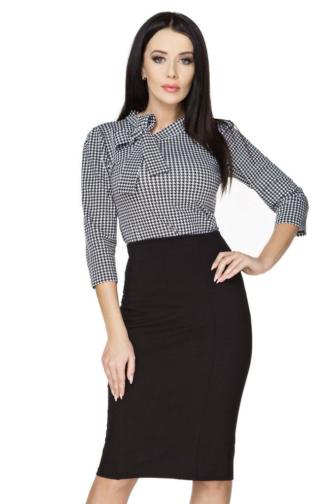 783b9ada47d388 Houndstooth 3/4 Sleeve Cotton Blouse With A Bow in 2019 | Office ...