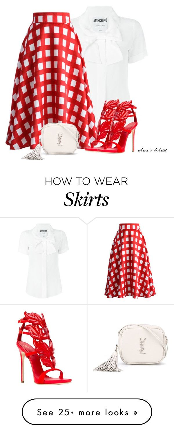 """""""Plaid Skirt"""" by sonies-world on Polyvore featuring Moschino, Chicwish, Giuseppe Zanotti and Yves Saint Laurent"""