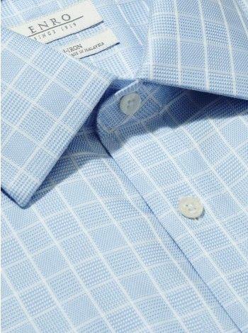 Big&Tall-Dobby Textured Plaid Dress Shirt With ENRO Spread Collar