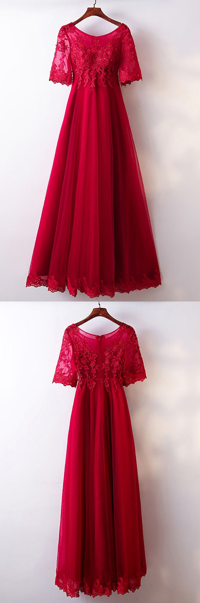Only $118, A Line Burgundy Lace Tulle Formal Party Dress With Short Sleeves #MYX18009 at #SheProm. SheProm is an online store with thousands of dresses, range from Formal,Party,Red,A Line Dresses,Long Dresses,Customizable Dresses and so on. Not only selling formal dresses, more and more trendy dress styles will be updated daily to our store. With low price and high quality guaranteed, you will definitely like shopping from us.