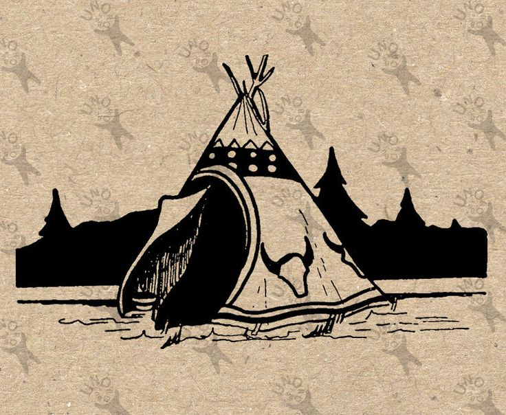 Vintage image Tepee Teepee Tipi Wigwam Lodge Instant Download Digital printable clipart graphic Burlap Fabric Paper Transfer HQ 300dpi by UnoPrint on Etsy