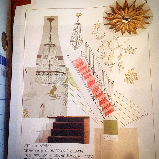 Nok en trappegang. Her i klassisk stil. #nki#nkistudent#trapp#klassisk#stil#moodboard#interiør#interior#teppe#