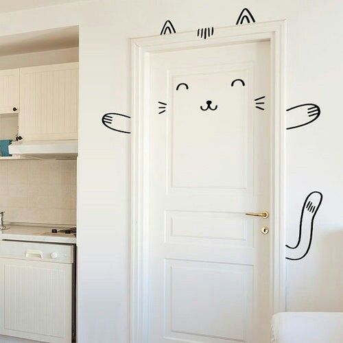 Home Decor Cutest Door Decoration Perfect For Kids Room Sisi The Smug Cat Door Decal Wall Decal For By Madeofsundays