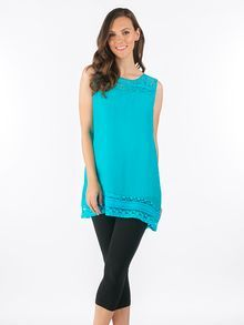 Dot Lace Inlay Linen Like Top in Teal