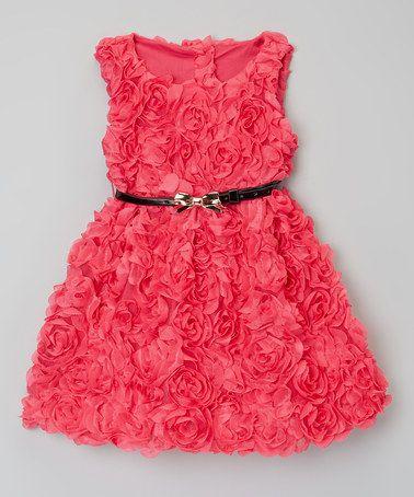 Dark Pink Rosette Belted Dress - Toddler & Girls #zulily #ad *perfect Valentine's dress...