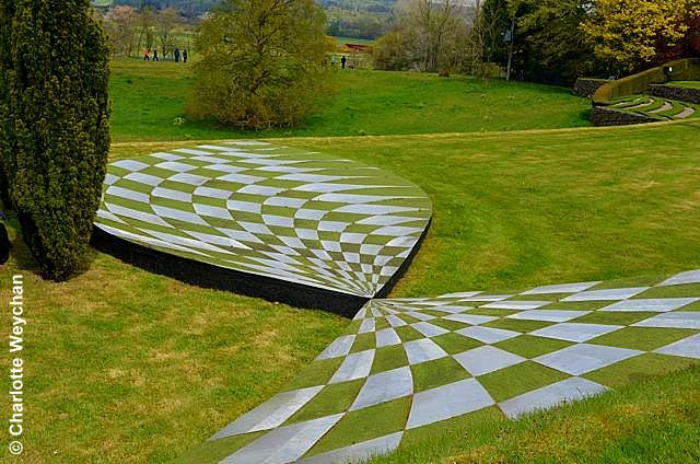 the garden of cosmic speculation scotland the black hole terrace where the grass appears to. Black Bedroom Furniture Sets. Home Design Ideas
