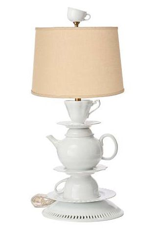 I saw a lamp similar to this in a store (Blue Illusion, Sunshine Plaza) last week. I thought it was so clever! Such a great D.I.Y craft idea. Functional and decorative :)
