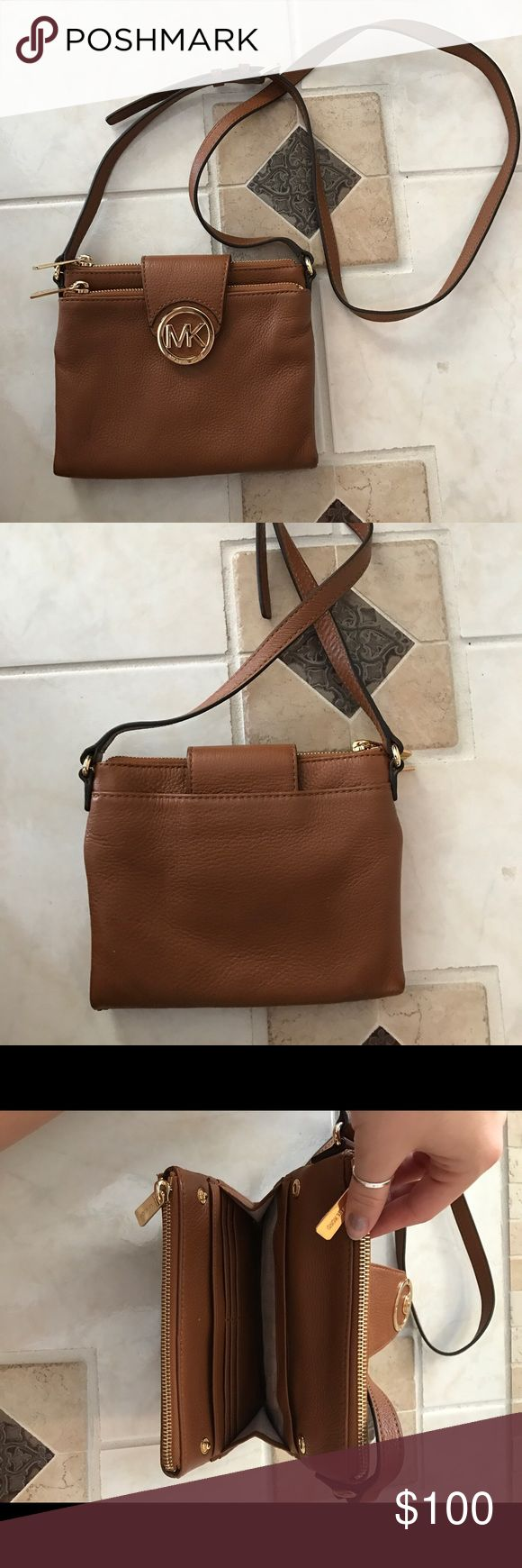 Michael Kors Fulton Crossbody This was my favorite bag because of the soft leather, just no longer my style. Has two spots with zippers that hold a lot then card spots in the middle for easy access. Kept in great condition Michael Kors Bags Crossbody Bags
