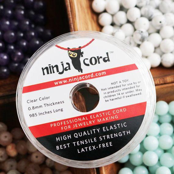 Nome: Ninja Cord™ - professionale cavo elastico per la fabbricazione di gioielli Colore: chiaro Dimensione: 0,8 mm Lunghezza: 985 pollici