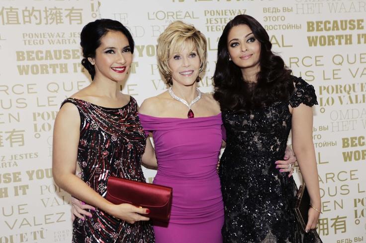 Backstage with Maudy Koesnaedi, Jane Fonda and Aishwarya Rai at the Festival de Cannes 2013.