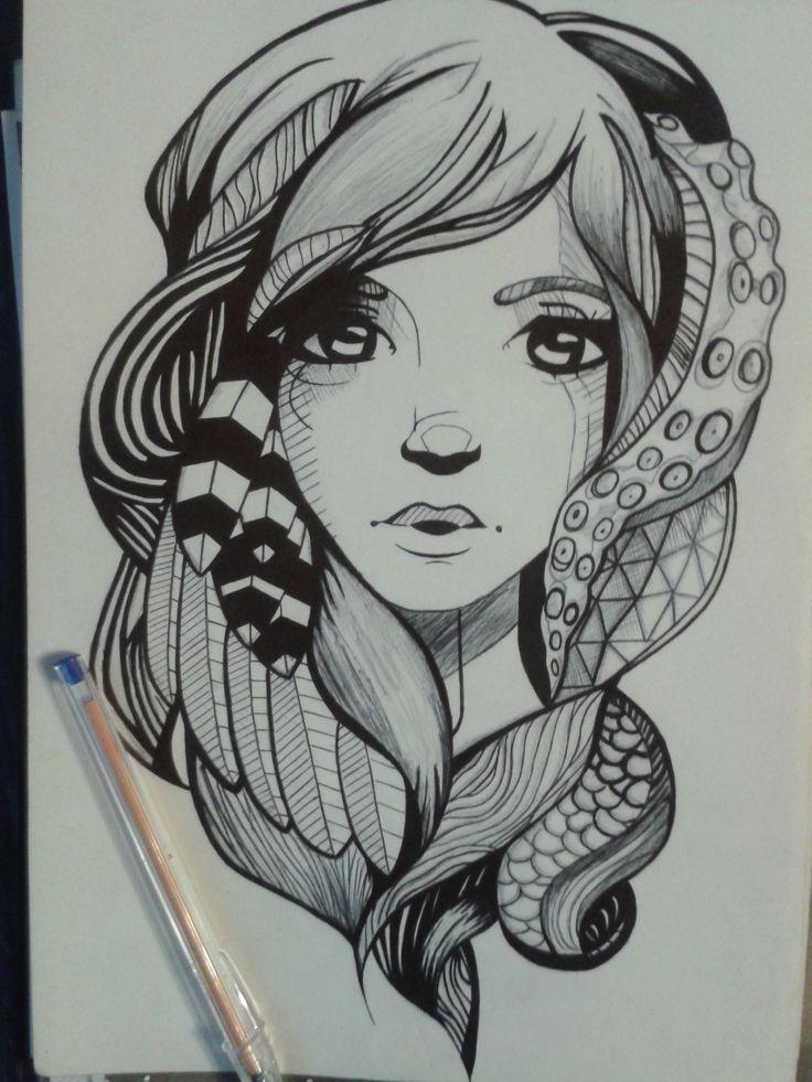Dibujo terminado,completamente hecho con esfero de color negro en cartulina blanca A4 por Steven Inca.