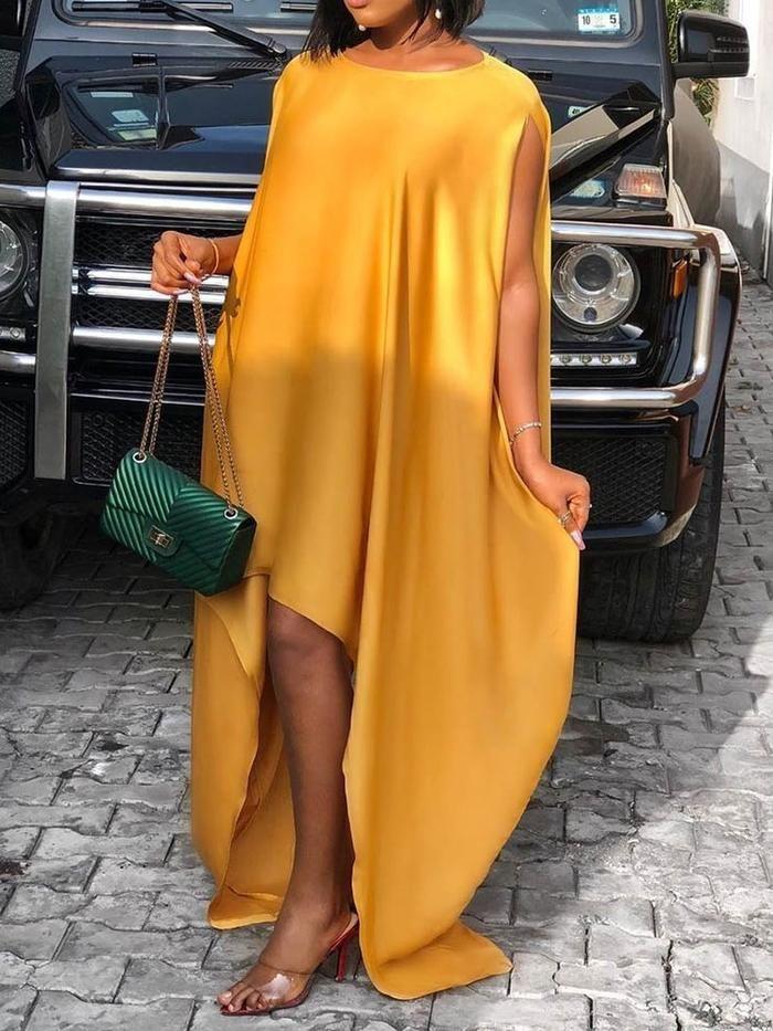 Short Sleeve Floor-Length Asymmetric Asymmetrical Pullover Dress