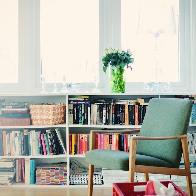Bookshelves under window