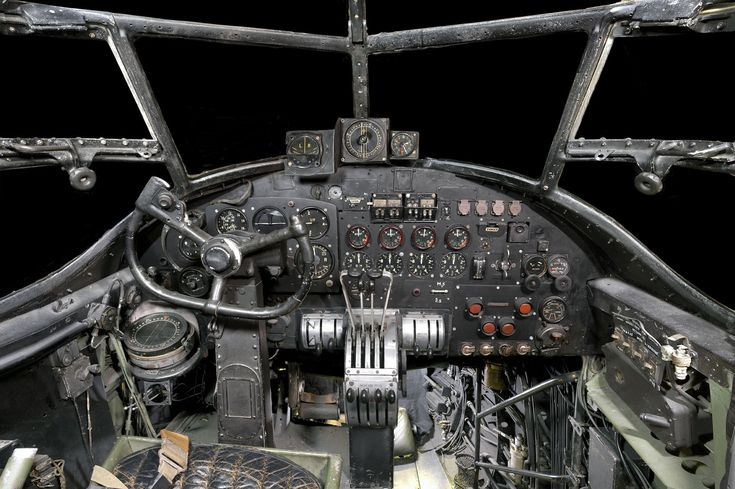 The cockpit of the Avro Lancaster 1, the famous WW2 Heavy Bomber  © Trustees of the RAF Museum